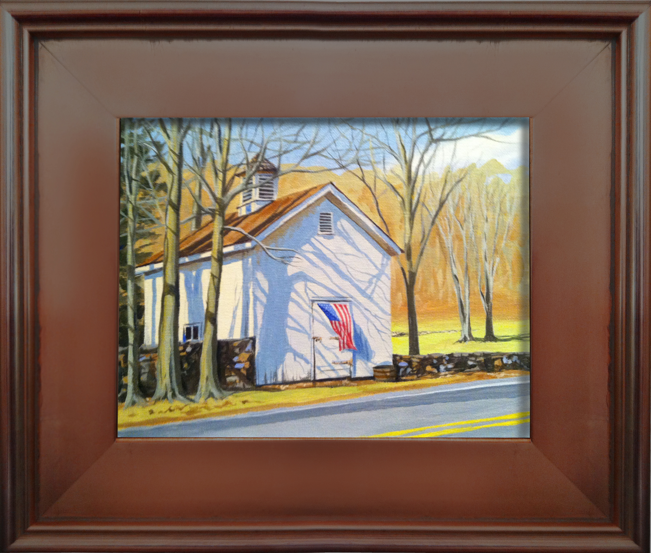"I captured this gorgeous white barn in Bedford at the perfect time of day in early March, with the bright sunlight shining thru the bare trees casting long haunting shadows across the front while ""Old Glory"" waves gently in the breeze.  8"" x 10"" acrylic on canvas board is available for Purchase. Please contact for price."