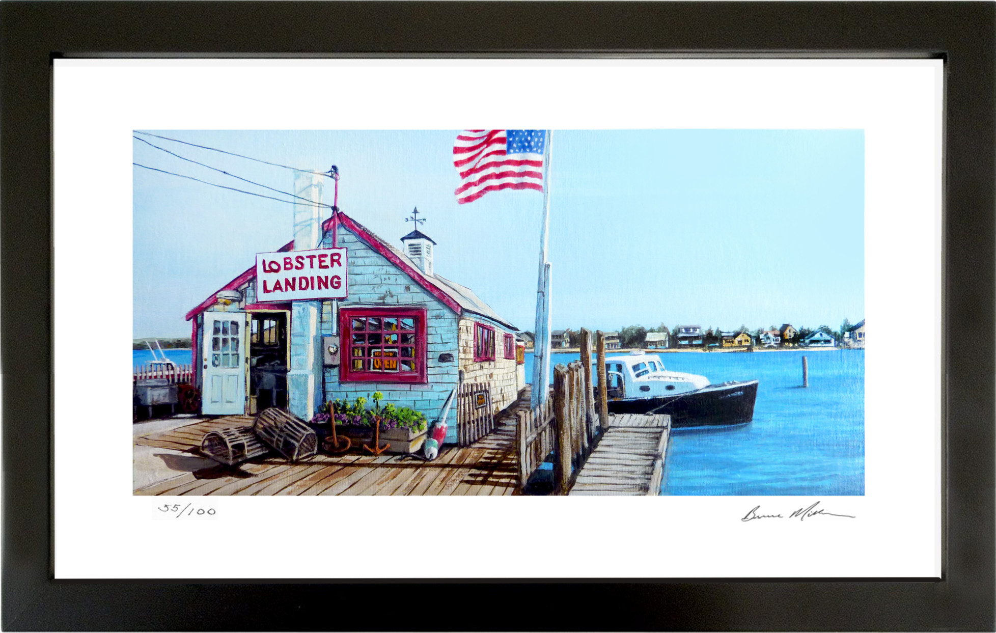 "Filled with character and charm this dockside lobster shack sits on the mainland across Clinton Harbor from Cedar Island. Signed and numbered ""Gallery Quality"" Gycleé prints of the original painting are now available. These Limited Edition prints measure 12"" x 24"" and are individually hand signed and numbered by the artist. Unframed prints are priced at $80, Framed prints (pictured above) priced at $150. Please contact the artist directly through the website for more information and purchase inquiries."